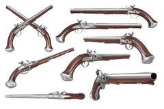 Pistol gun weapon set Stock Images