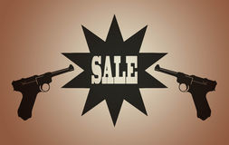 2 Pistol guns and sale sign Royalty Free Stock Photo
