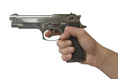 Pistol in hand stock photography