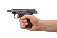 Pistol in hand Stock Photos