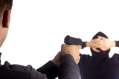 Pistol in hand arrest Royalty Free Stock Images