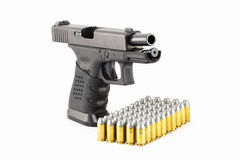 Pistol hand gun isolated on white Stack Image Stock Images