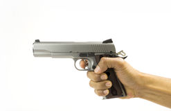 Pistol 1911 in hand Stock Image