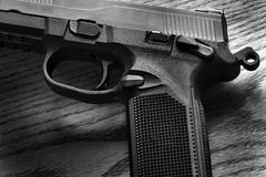 Pistol Handgun Closeup Trigger for Shooting Self Defense or Mili Royalty Free Stock Photo