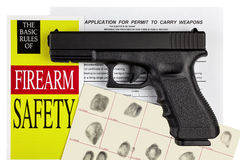 Pistol Handgun with Firearm Application and CCW Permit Fingerpri Stock Photo