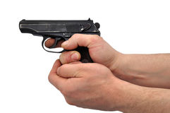 Pistol in hands. Black pistol in hands on a white background Stock Photo