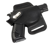 Pistol in holster. Stock Images