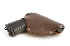 Pistol in a holster. On a white background Stock Images
