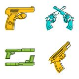 Pistol icon set, color outline style. Pistol icon set. Color outline set of pistol vector icons for web design isolated on white background Royalty Free Stock Images