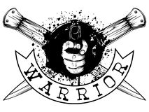 Pistol and knife. Vector illustration hand with pistol on crossed daggers and grunge background. Inscription warrior. For tattoo or t-shirt design Royalty Free Stock Photography