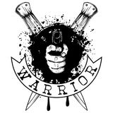 Pistol and knife. Vector illustration hand with pistol on crossed daggers and grunge background. Inscription warrior. For tattoo or t-shirt design Royalty Free Stock Photos