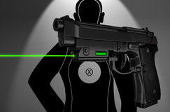 Pistol with laser. Stock Images