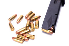 Pistol magazine and rust bullets Royalty Free Stock Photography