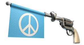 Pistol Peace Flag. A six shooter gun with a knotted barrel with a blue flag coming out with a peace symbol on it on an isolated white background Royalty Free Stock Photos