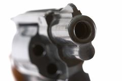 Pistol's barrel. Close up of pistol's gunpoint wit front sight Royalty Free Stock Photo