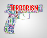 Pistol shape wordcloud tag terrorism Royalty Free Stock Photos