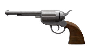 Pistol Side. An old metal pistol with a wooden handle an isolated background Royalty Free Stock Image