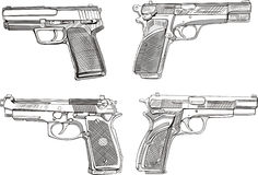 Pistol sketches. Set of black and white vector illustrations Stock Photo