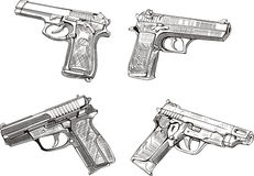 Pistol sketches Royalty Free Stock Photography