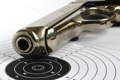 Pistol and target Royalty Free Stock Photo