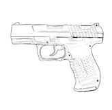 Pistol - vector illustration. Royalty Free Stock Photos