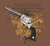 Pistol and vines design. A t-shirt design made up of an illustration of a pistol on a brown background of vines and text Royalty Free Stock Photos
