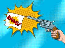 Pistol with white flag comic book pop art vector. Pistol with white flag imitation shooting pop art retro vector illustration. Comic book style imitation Royalty Free Stock Images
