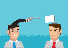 Pistol and White Flag from the Heads Conceptual Vector Illustrat Stock Photos