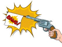 Pistol with white flag comic book pop art vector. Pistol with white flag imitation shooting pop art retro vector illustration. Isolated image on white background Royalty Free Stock Photography