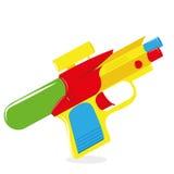 Pistola a acqua del fumetto isolata su fondo bianco Immagini Stock Libere da Diritti