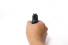 Pistola automática de la mano aislada en el fondo blanco Imagenes de archivo