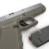 Pistola automatica dei semi con la rivista e le munizioni su un bianco illustrazione 3D illustrazione di stock