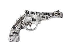 Pistola del periódico en el fondo blanco imágenes de archivo libres de regalías