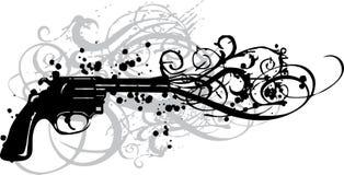 Pistola dell'annata con i turbinii grungy Fotografia Stock