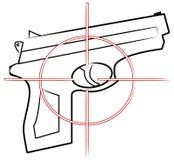 Pistola della mano con l'obiettivo Fotografia Stock