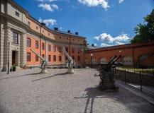 Pistola difensiva in un kastell di Vaxholms della fortezza, Stoccolma sweden Immagini Stock