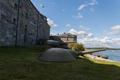 Pistola difensiva in un kastell di Vaxholms della fortezza, Stoccolma sweden Fotografia Stock Libera da Diritti