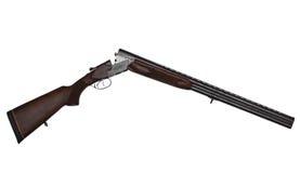 Pistola a doppia canna aperta di caccia isolata su bianco Fotografie Stock Libere da Diritti