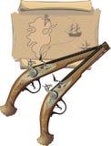 Pistola e mapa de dois piratas Foto de Stock