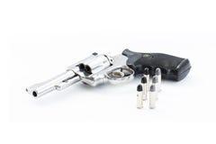 Pistola e pallottole di Chrome Fotografie Stock