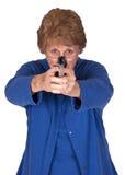 Pistola maggiore matura della pistola della mano della stretta della nonna della donna immagine stock libera da diritti