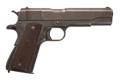 Pistola militare utilizzata 1911A1 Fotografia Stock Libera da Diritti