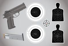 Pistola, munizioni ed obiettivi Immagine Stock