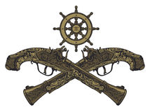 Pistola vieja del fusil de chispa stock de ilustración