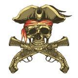 Pistolas del cráneo y del vintage del pirata Rogelio alegre stock de ilustración