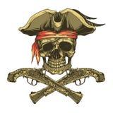 Pistolas del cráneo y del vintage del pirata Rogelio alegre ilustración del vector