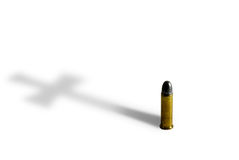 Pistolbullet with Cross Shadow Royalty Free Stock Photo