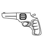 Pistoldiagram för borgerligt försvar, militär utrustning vektor illustrationer