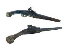 Pistole antiche del XVIII secolo del flintlock isolate sopra bianco Immagine Stock Libera da Diritti