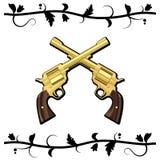 Pistole attraversate oro Immagine Stock